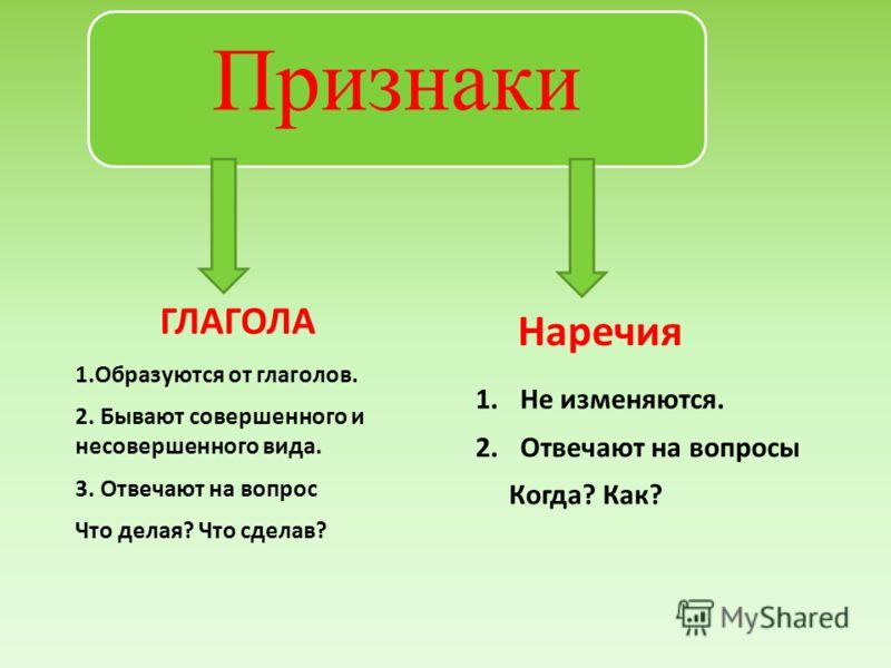 Признаки 1.Образуются от глаголов. 2. Бывают совершенного и несовершенного вида. 3. Отвечают на вопрос Что делая? Что сделав? 1.Не изменяются. 2.Отвечают на вопросы Когда? Как? ГЛАГОЛА Наречия