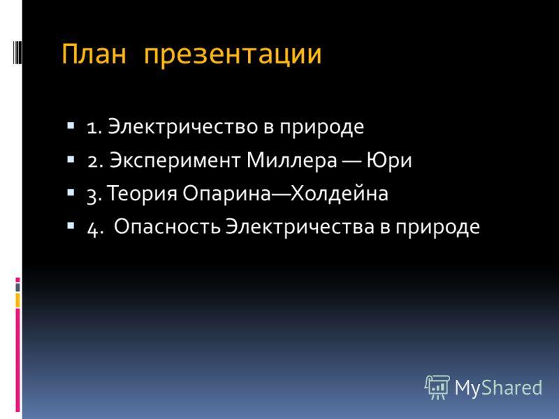 План презентации 1. Электричество в природе 2. Эксперимент Миллера Юри 3. Теория ОпаринаХолдейна 4. Опасность Электричества в природе