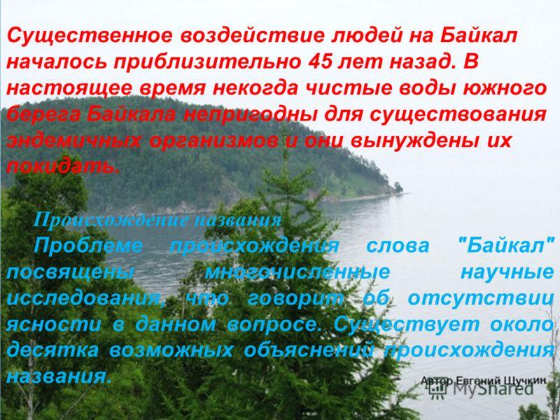 Существенное воздействие людей на Байкал началось приблизительно 45 лет назад. В настоящее время некогда чистые воды южного берега Байкала непригодны для существования эндемичных организмов и они вынуждены их покидать. Происхождение названия Проблеме