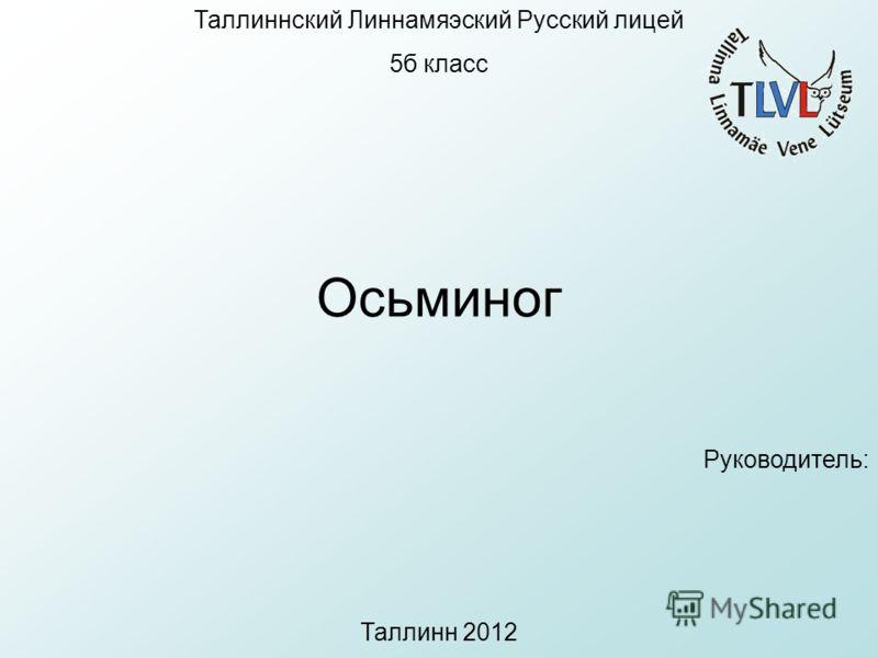 Таллиннский Линнамяэский Русский лицей 5б класс Осьминог Руководитель: Таллинн 2012