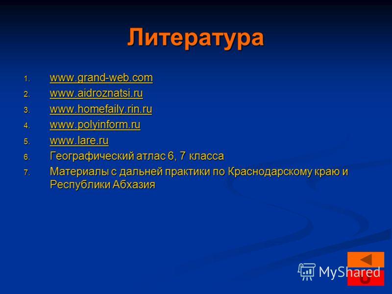 Литература 1. www.grand-web.com www.grand-web.com www.grand-web.com 2. www.aidroznatsi.ru www.aidroznatsi.ru www.aidroznatsi.ru 3. www.homefaily.rin.ru www.homefaily.rin.ru www.homefaily.rin.ru 4. www.polyinform.ru www.polyinform.ru 5. www.lare.ru ww