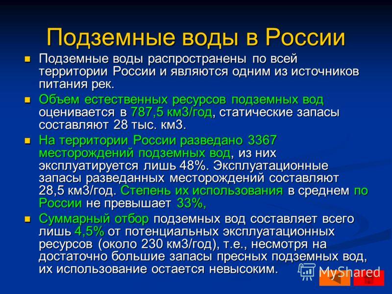 Подземные воды в России Подземные воды распространены по всей территории России и являются одним из источников питания рек. Подземные воды распространены по всей территории России и являются одним из источников питания рек. Объем естественных ресурсо