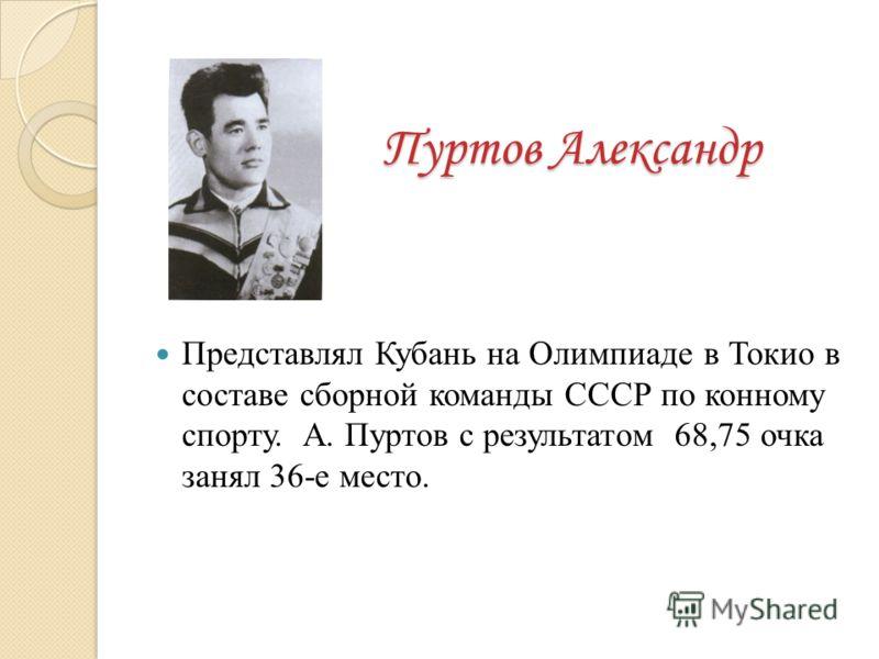 Пуртов Александр Представлял Кубань на Олимпиаде в Токио в составе сборной команды СССР по конному спорту. А. Пуртов с результатом 68,75 очка занял 36-е место.
