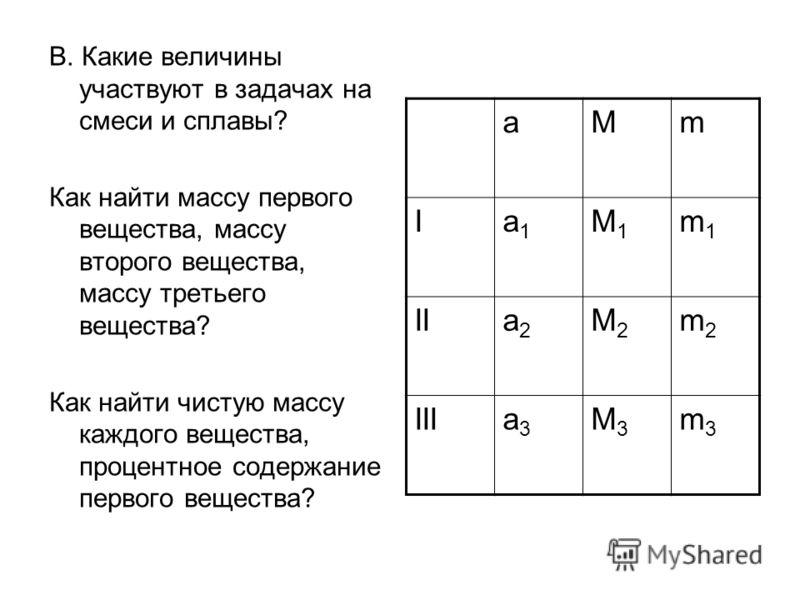 В. Какие величины участвуют в задачах на смеси и сплавы? Как найти массу первого вещества, массу второго вещества, массу третьего вещества? Как найти чистую массу каждого вещества, процентное содержание первого вещества? аMm Ia1a1 M1M1 m1m1 IIa2a2 M2