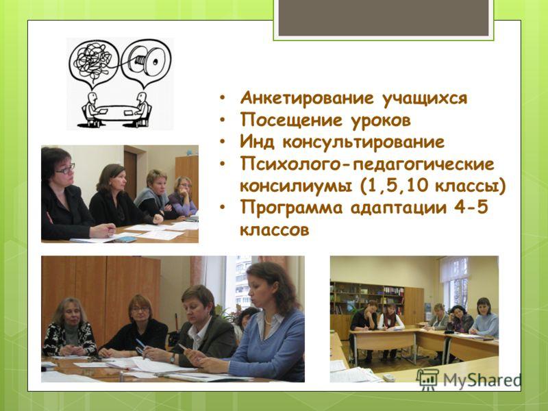 Анкетирование учащихся Посещение уроков Инд консультирование Психолого-педагогические консилиумы (1,5,10 классы) Программа адаптации 4-5 классов