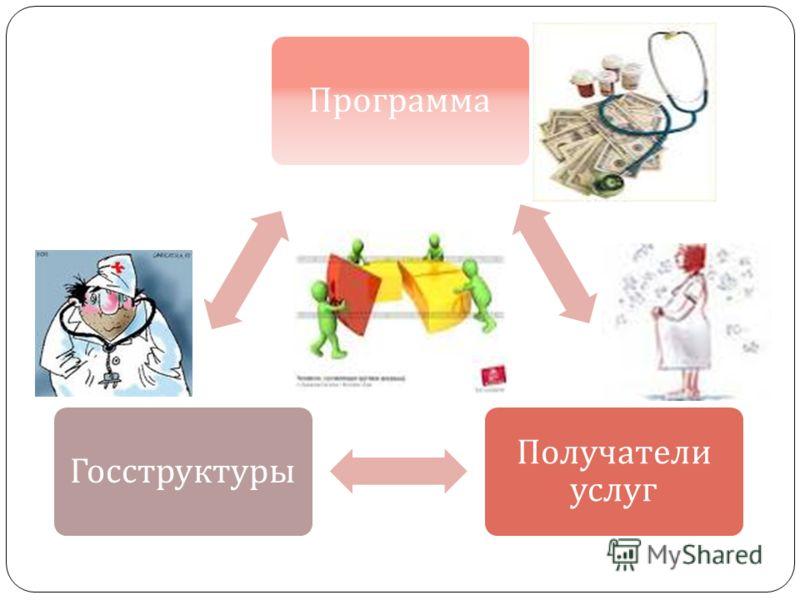 Программа Получатели услуг Госструктуры