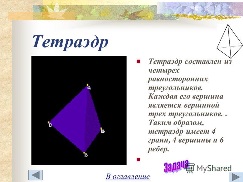 Тетраэдр Тетраэдр составлен из четырех равносторонних треугольников. Каждая его вершина является вершиной трех треугольников.. Таким образом, тетраэдр имеет 4 грани, 4 вершины и 6 ребер. В оглавление