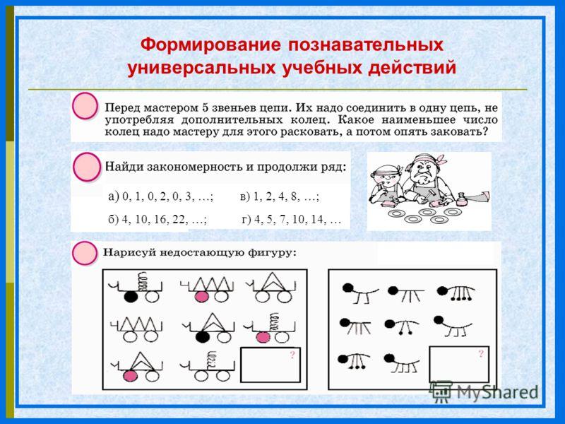 Формирование познавательных универсальных учебных действий а) 0, 1, 0, 2, 0, 3, …; в) 1, 2, 4, 8, …; б) 4, 10, 16, 22, …; г) 4, 5, 7, 10, 14, …