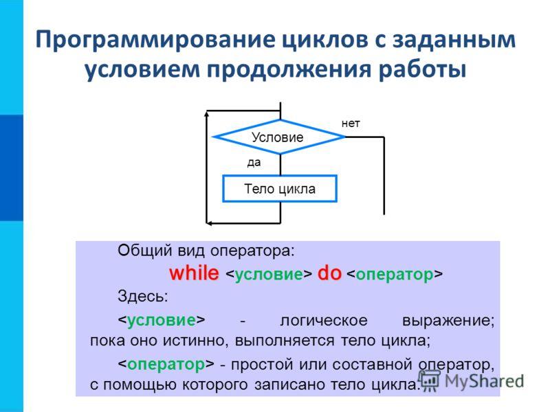 Программирование циклов с заданным условием продолжения работы Общий вид оператора: whiledo while do Здесь: - логическое выражение; пока оно истинно, выполняется тело цикла; - простой или составной оператор, с помощью которого записано тело цикла. Те