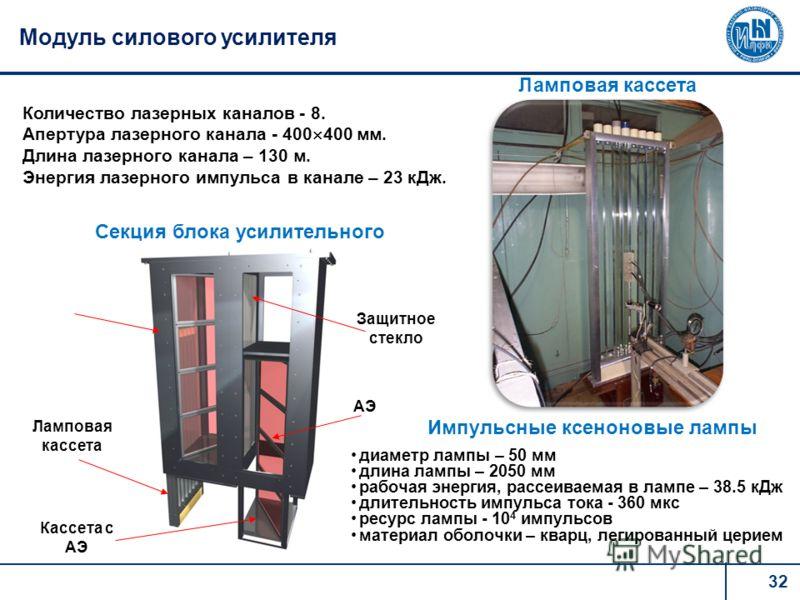 32 Модуль силового усилителя Секция блока усилительного Ламповая кассета АЭ Защитное стекло Кассета с АЭ Ламповая кассета диаметр лампы – 50 мм длина лампы – 2050 мм рабочая энергия, рассеиваемая в лампе – 38.5 кДж длительность импульса тока - 360 мк