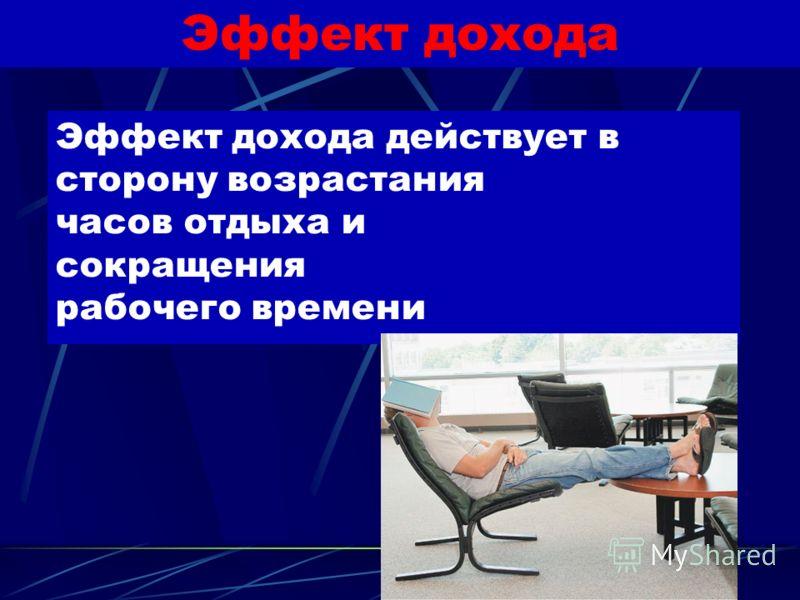 Эффект замещения Эффект замещения действует в сторону сокращения часов отдыха и замещения их часами работы.