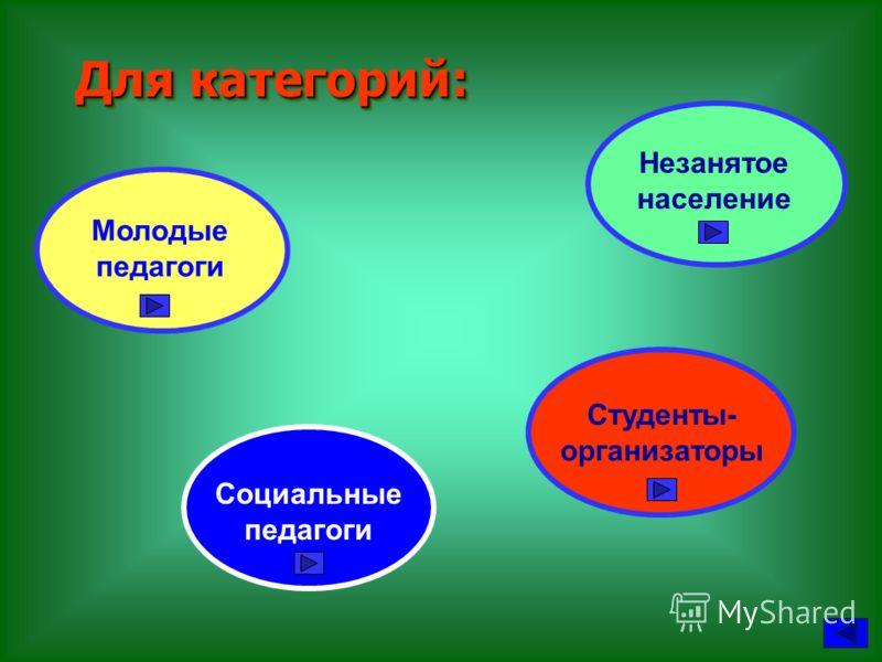 Для категорий: Для категорий: Молодые педагоги Незанятое население Студенты- организаторы Социальные педагоги