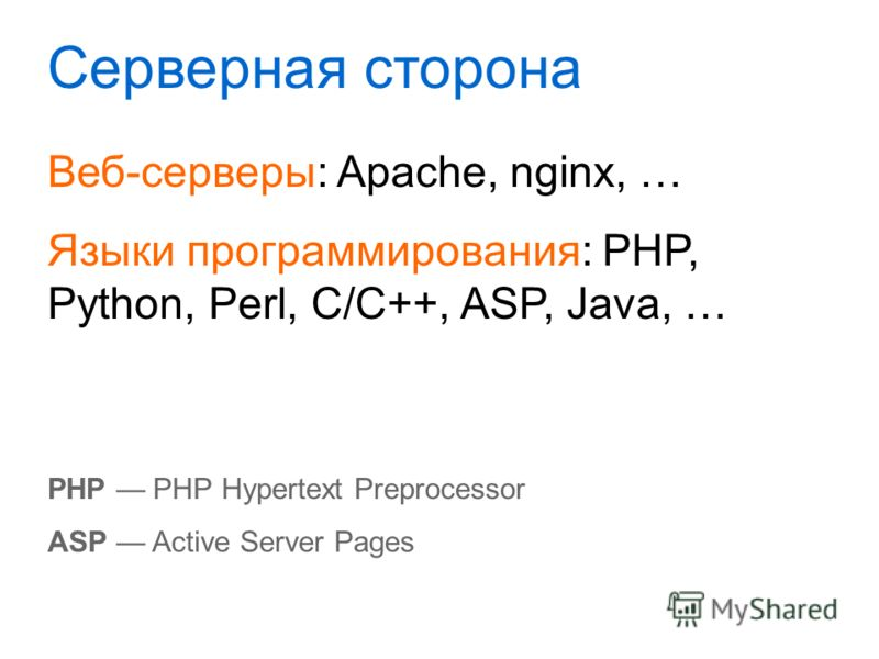 Серверная сторона Веб-серверы: Apache, nginx, … Языки программирования: PHP, Python, Perl, C/C++, ASP, Java, … PHP PHP Hypertext Preprocessor ASP Active Server Pages
