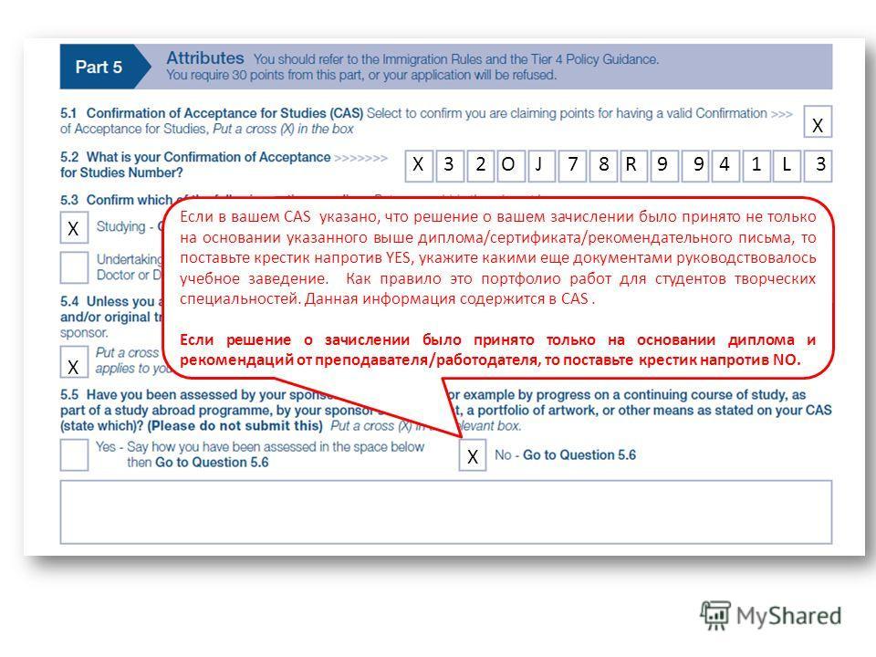 Если в вашем CAS указано, что решение о вашем зачислении было принято не только на основании указанного выше диплома/сертификата/рекомендательного письма, то поставьте крестик напротив YES, укажите какими еще документами руководствовалось учебное зав