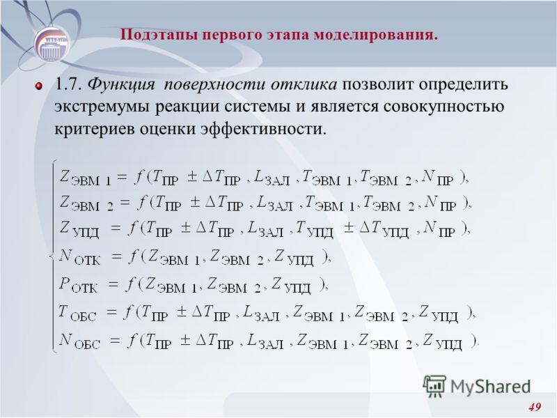 49 Подэтапы первого этапа моделирования. 1.7. Функция поверхности отклика позволит определить экстремумы реакции системы и является совокупностью критериев оценки эффективности.