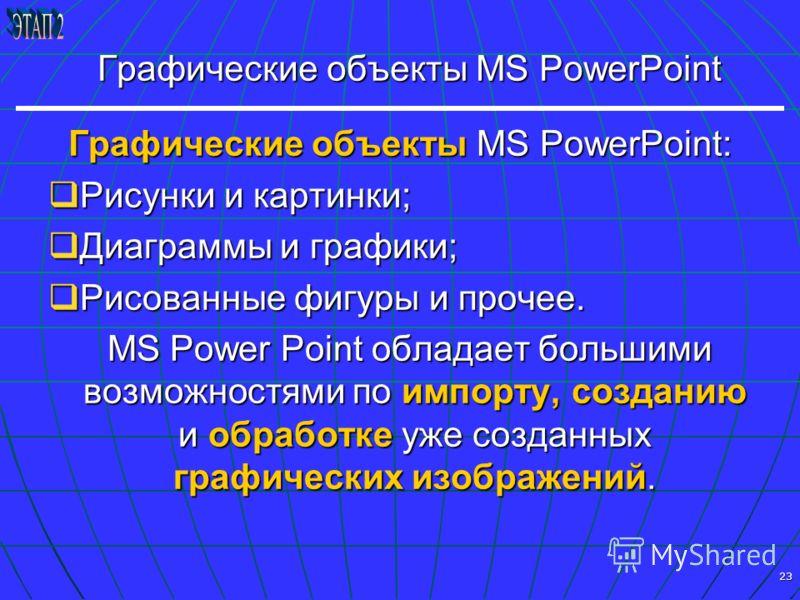 23 Графические объекты MS PowerPoint Графические объекты MS PowerPoint: Рисунки и картинки; Рисунки и картинки; Диаграммы и графики; Диаграммы и графики; Рисованные фигуры и прочее. Рисованные фигуры и прочее. MS Power Point обладает большими возможн