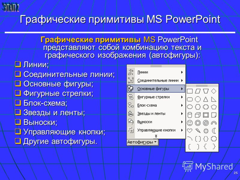 25 Графические примитивы MS PowerPoint Графические примитивы MS PowerPoint представляют собой комбинацию текста и графического изображения (автофигуры): Графические примитивы MS PowerPoint представляют собой комбинацию текста и графического изображен