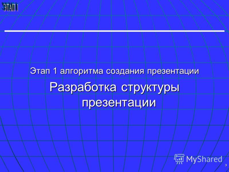 3 Этап 1 алгоритма создания презентации Разработка структуры презентации