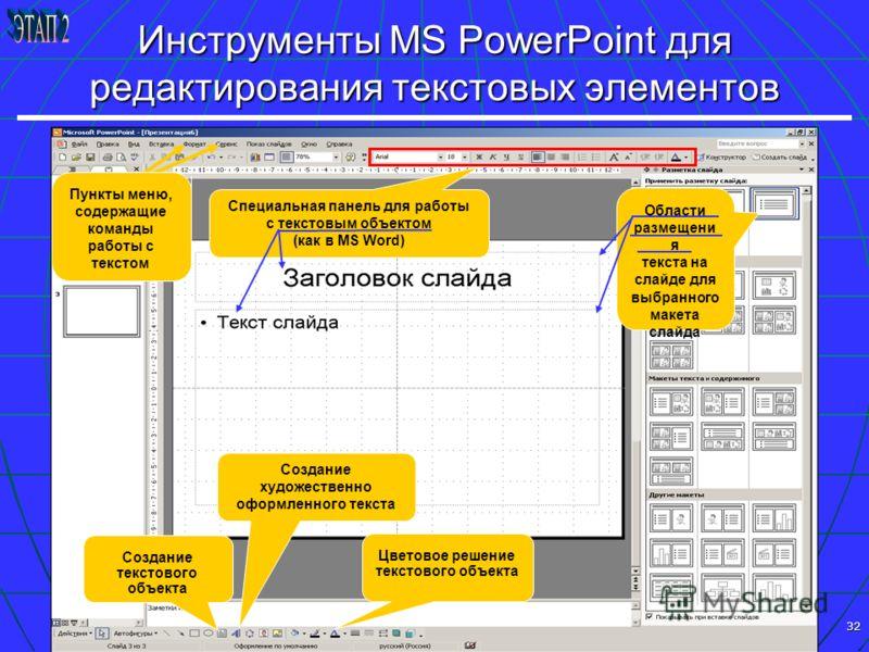 32 Инструменты MS PowerPoint для редактирования текстовых элементов Создание текстового объекта Создание художественно оформленного текста Специальная панель для работы с текстовым объектом (как в MS Word) Области размещени я текста на слайде для выб