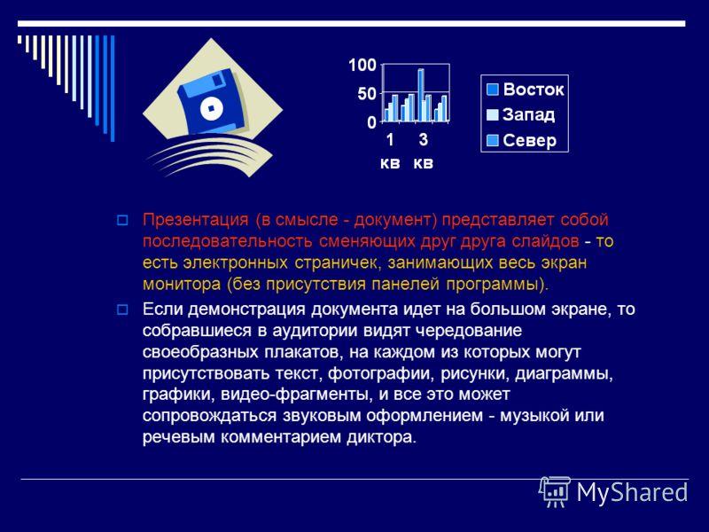 Презентация (в смысле - документ) представляет собой последовательность сменяющих друг друга слайдов - то есть электронных страничек, занимающих весь экран монитора (без присутствия панелей программы). Если демонстрация документа идет на большом экра