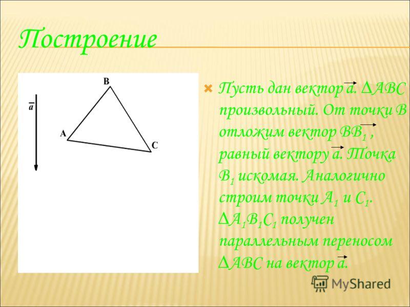 Построение Пусть дан вектор а. АВС произвольный. От точки В отложим вектор ВВ 1, равный вектору а. Точка В 1 искомая. Аналогично строим точки А 1 и С 1. А 1 В 1 С 1 получен параллельным переносом АВС на вектор а.