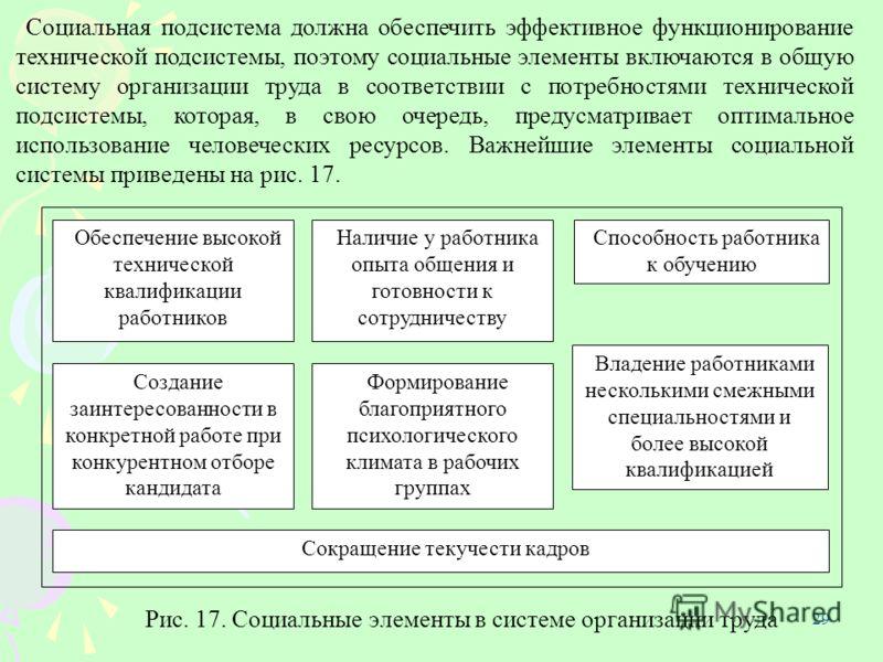 29 Социальная подсистема должна обеспечить эффективное функционирование технической подсистемы, поэтому социальные элементы включаются в общую систему организации труда в соответствии с потребностями технической подсистемы, которая, в свою очередь, п