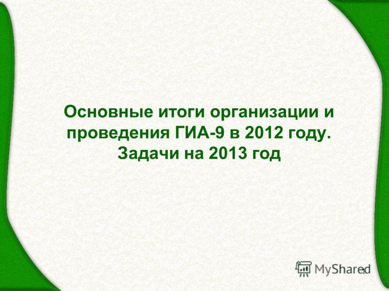 1 Основные итоги организации и проведения ГИА-9 в 2012 году. Задачи на 2013 год