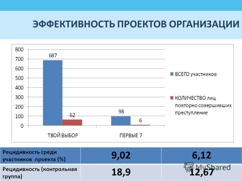 ЭФФЕКТИВНОСТЬ ПРОЕКТОВ ОРГАНИЗАЦИИ Рецидивность среди участников проекта (%) 9,026,12 Рецидивность (контрольная группа) 18,912,67