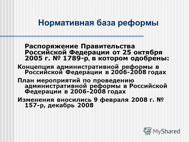 Распоряжение Правительства Российской Федерации от 25 октября 2005 г. 1789-р, в котором одобрены: Концепция административной реформы в Российской Федерации в2006-2008 годах План мероприятий по проведению административной реформы в Российской Федераци
