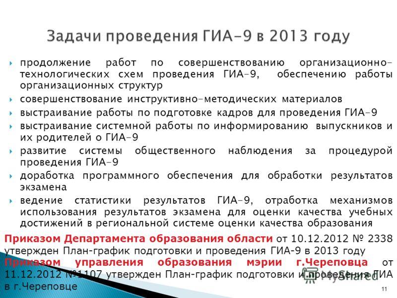 11 Задачи проведения ГИА-9 в 2013 году продолжение работ по совершенствованию организационно- технологических схем проведения ГИА-9, обеспечению работы организационных структур совершенствование инструктивно-методических материалов выстраивание работ
