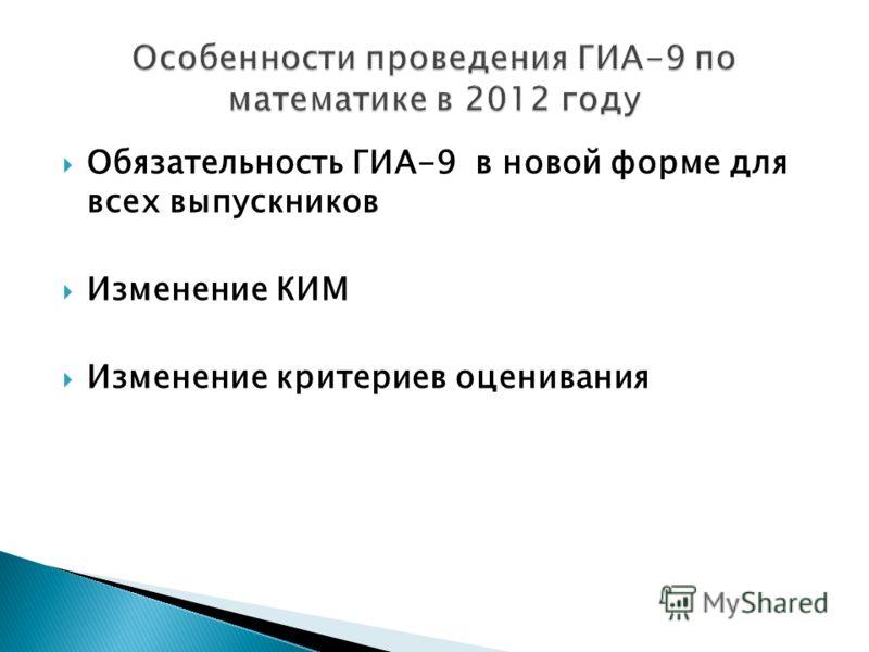 Обязательность ГИА-9 в новой форме для всех выпускников Изменение КИМ Изменение критериев оценивания