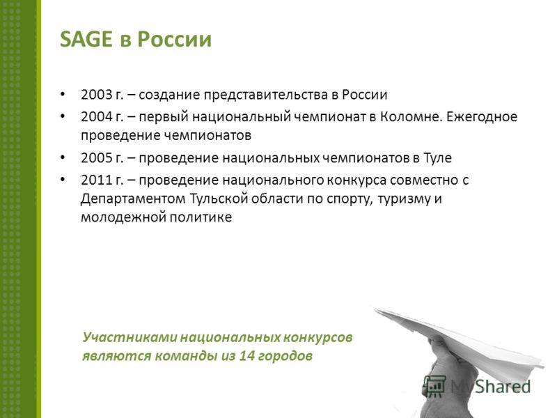 SAGE в России 2003 г. – создание представительства в России 2004 г. – первый национальный чемпионат в Коломне. Ежегодное проведение чемпионатов 2005 г. – проведение национальных чемпионатов в Туле 2011 г. – проведение национального конкурса совместно