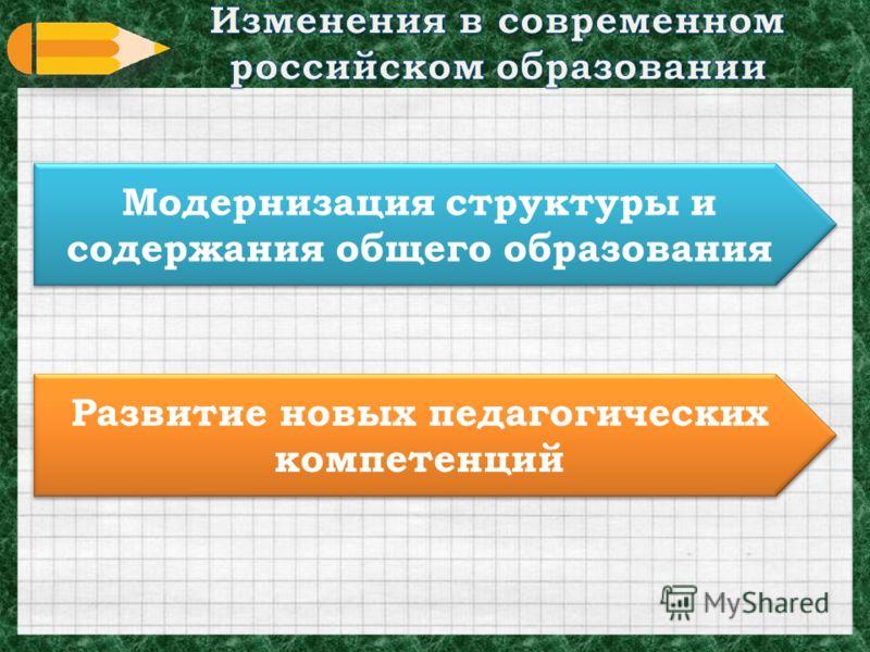 Модернизация структуры и содержания общего образования Развитие новых педагогических компетенций