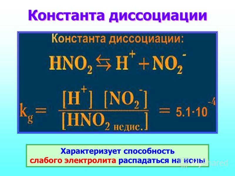 Константа диссоциации Характеризует способность слабого электролита распадаться на ионы