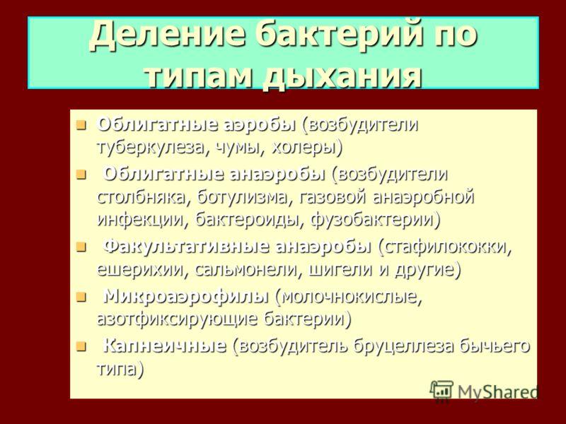 Облигатные аэробы (возбудители туберкулеза, чумы, холеры) Облигатные аэробы (возбудители туберкулеза, чумы, холеры) Облигатные анаэробы (возбудители столбняка, ботулизма, газовой анаэробной инфекции, бактероиды, фузобактерии) Облигатные анаэробы (воз