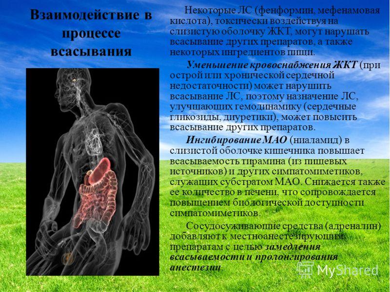 Взаимодействие в процессе всасывания Некоторые ЛС (фенформин, мефенамовая кислота), токсически воздействуя на слизистую оболочку ЖКТ, могут нарушать всасывание других препаратов, а также некоторых ингредиентов пищи. Уменьшение кровоснабжения ЖКТ (при
