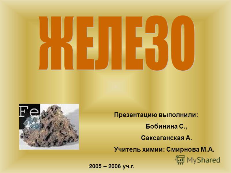 Презентацию выполнили: Бобинина С., Саксаганская А. Учитель химии: Смирнова М.А. 2005 – 2006 уч.г.