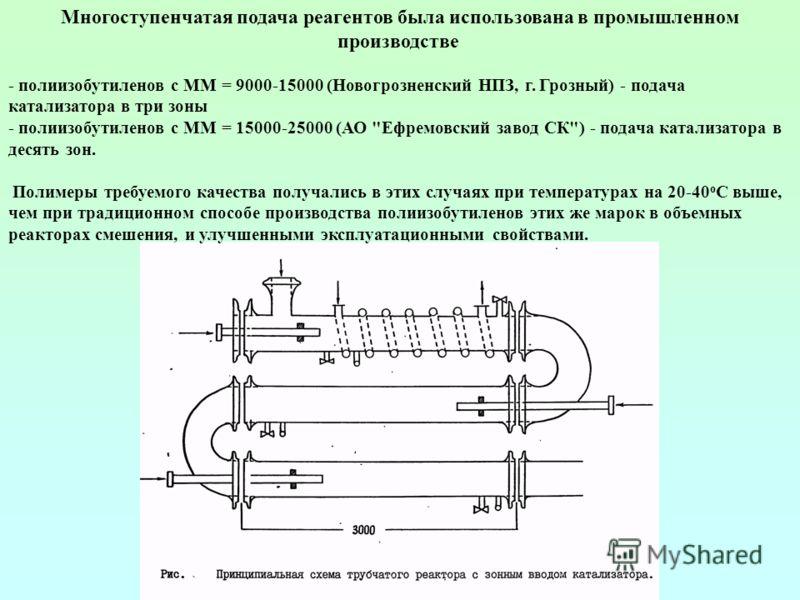 Многоступенчатая подача реагентов была использована в промышленном производстве - полиизобутиленов с ММ = 9000-15000 (Новогрозненский НПЗ, г. Грозный) - подача катализатора в три зоны - полиизобутиленов с ММ = 15000-25000 (АО