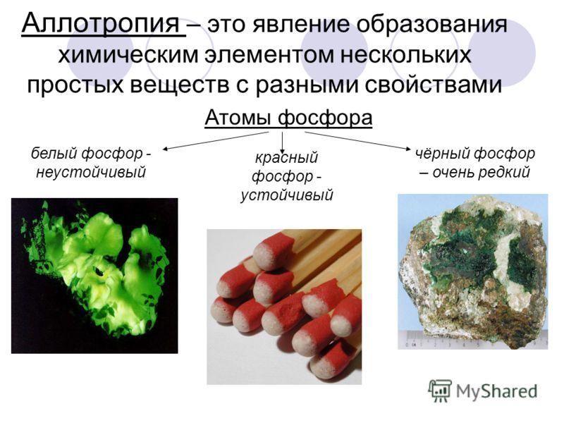 Аллотропия – это явление образования химическим элементом нескольких простых веществ с разными свойствами Атомы фосфора белый фосфор - неустойчивый красный фосфор - устойчивый чёрный фосфор – очень редкий