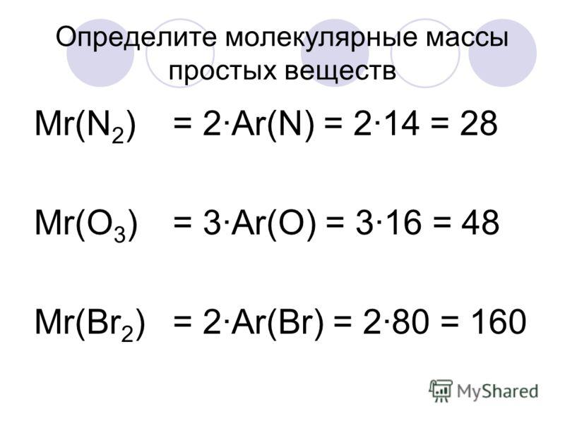 Определите молекулярные массы простых веществ Mr(N 2 ) Mr(O 3 ) Mr(Br 2 ) = 2·Ar(N) = 2·14 = 28 = 3·Ar(O) = 3·16 = 48 = 2·Ar(Br) = 2·80 = 160