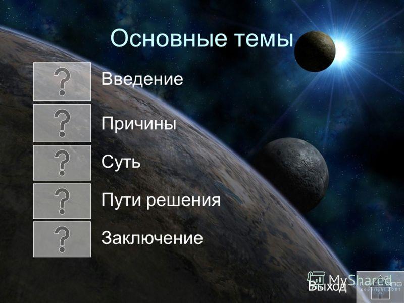 Основные темы Пути решения Выход Введение Причины Суть Заключение