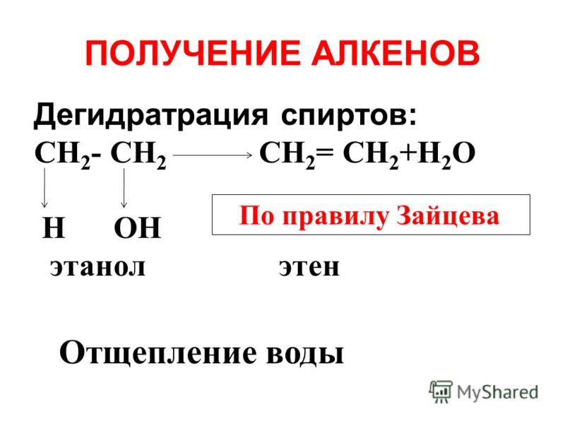 ПОЛУЧЕНИЕ АЛКЕНОВ Дегидратрация спиртов: СH 2 - СH 2 СH 2 = СH 2 +H 2 О Н ОН этанол этен Отщепление воды По правилу Зайцева