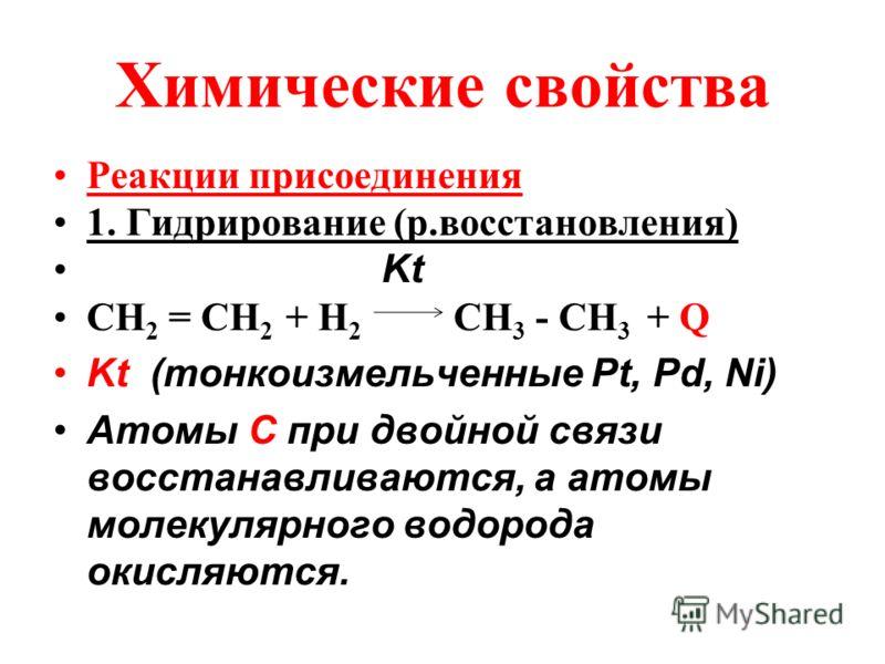 Химические свойства Реакции присоединения 1. Гидрирование (р.восстановления) Kt СН 2 = СН 2 + Н 2 СН 3 - СН 3 + Q Kt (тонкоизмельченные Рt, Pd, Ni) Атомы C при двойной связи восстанавливаются, а атомы молекулярного водорода окисляются.