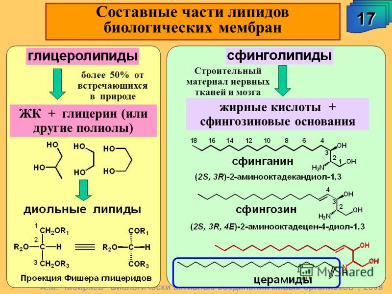 17 Составные части липидов биологических мембран жирные кислоты + сфингозиновые основания Строительный материал нервных тканей и мозга ЖК + глицерин (или другие полиолы) более 50% от встречающихся в природе