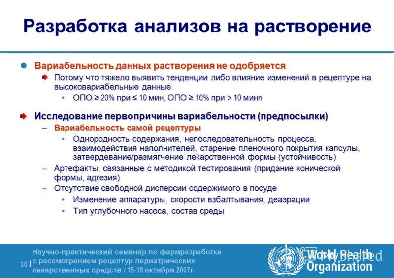 Научно-практический семинар по фармразработке с рассмотрением рецептур педиатрических лекарственных средств / 15-19 октября 2007 г. 30 | Разработка анализов на растворение Вариабельность данных растворения не одобряется Вариабельность данных растворе