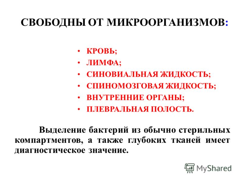 СВОБОДНЫ ОТ МИКРООРГАНИЗМОВ: Выделение бактерий из обычно стерильных компартментов, а также глубоких тканей имеет диагностическое значение. КРОВЬ; ЛИМФА; СИНОВИАЛЬНАЯ ЖИДКОСТЬ; СПИНОМОЗГОВАЯ ЖИДКОСТЬ; ВНУТРЕННИЕ ОРГАНЫ; ПЛЕВРАЛЬНАЯ ПОЛОСТЬ.
