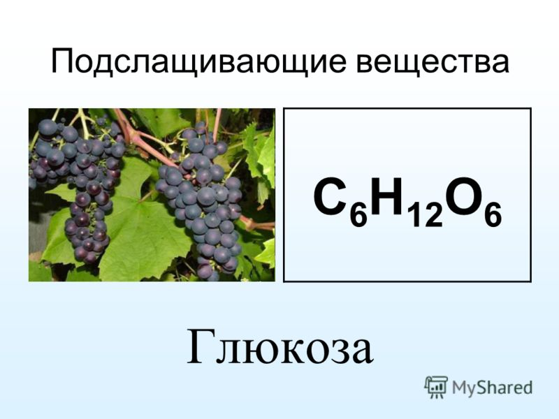 Подслащивающие вещества Глюкоза C 6 H 12 O 6