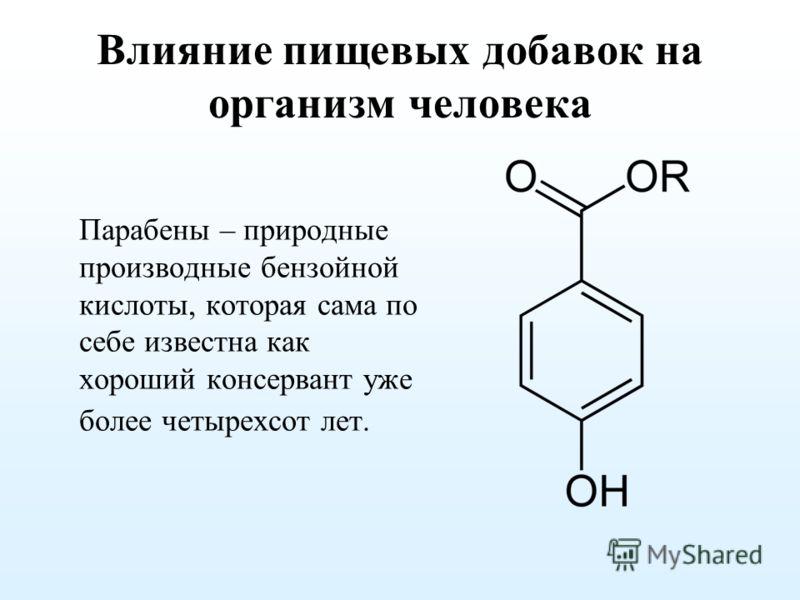 Влияние пищевых добавок на организм человека Парабены – природные производные бензойной кислоты, которая сама по себе известна как хороший консервант уже более четырехсот лет.