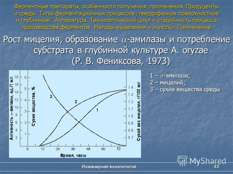Инженерная энзимология 43 Рост мицелия, образование -амилазы и потребление субстрата в глубинной культуре A. oryzae (Р. В. Фениксова, 1973) 1 – -амилаза; 2 – мицелий; 3 – сухие вещества среды Ферментные препараты, особенности получения, применения. П