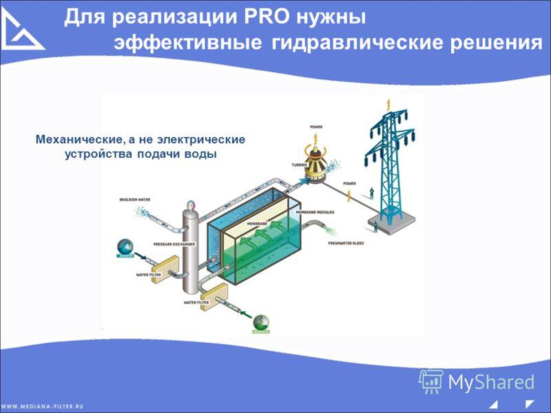 Для реализации PRO нужны эффективные гидравлические решения Механические, а не электрические устройства подачи воды